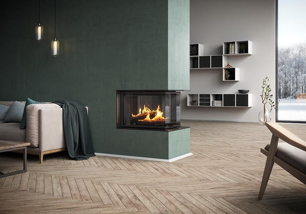 3 sided wood burning fireplace for the modern home rais. Black Bedroom Furniture Sets. Home Design Ideas