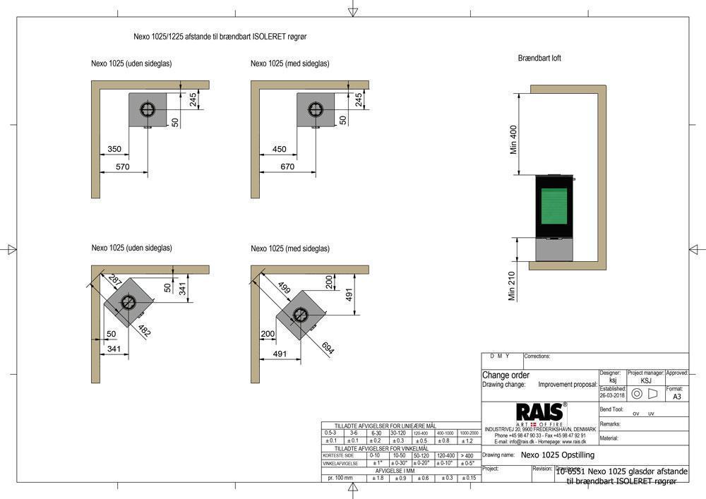 10 6551 Nexo 1025 glasdør afstande til brændbart ISOLERET røgrør