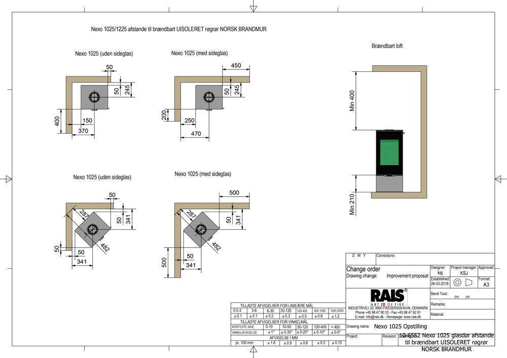 10 6552 Nexo 1025 glasdør afstande til brændbart UISOLERET røgrør NORSK BRANDMUR