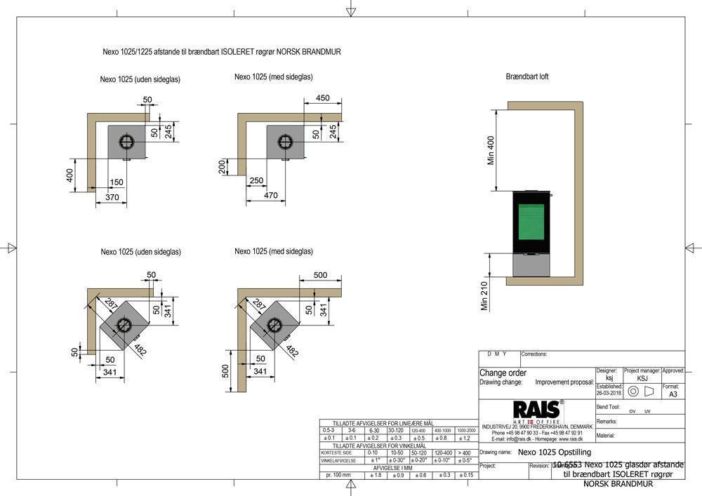 10 6553 Nexo 1025 glasdør afstande til brændbart ISOLERET røgrør NORSK BRANDMUR