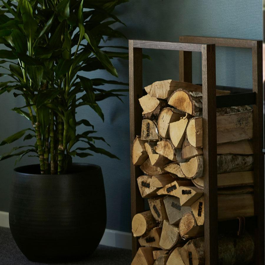 Woodframe Wall Mount Firewood Holder For Indoor Use Rais